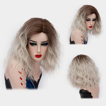 Medium Ombre Side Part Shaggy Natural Wave Synthetic Wig - GREY WHITE GREY WHITE