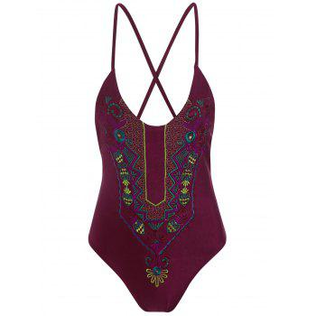 Feather Embroidered Cross Back Plus Size Swimsuit