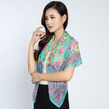 Retro Paisley Flowers Printing Shawl Scarf -  BLUE GREEN