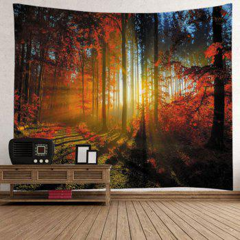 Maple Forest Print Tapestry Wall Hanging Art - DEEP RED W79 INCH * L59 INCH