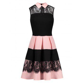 Sleeveless Fit and Flare Dress with Lace - COLORMIX COLORMIX