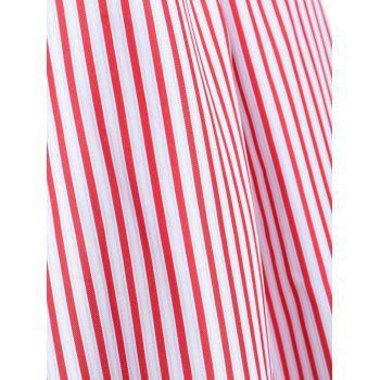 Cold Shoulder Striped Tunic Blouse - RED STRIPE XL
