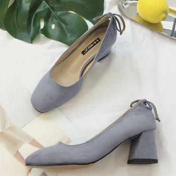 Mid Heel Square Toe Bow Pumps - Gris 39