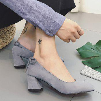 Mid Heel Square Toe Bow Pumps - Gris 37