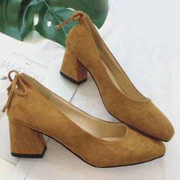 Mid Heel Square Toe Bow Pumps - Brun 39