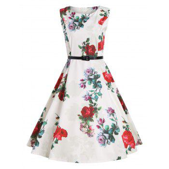 Knee Length Print Vintage Party Dress