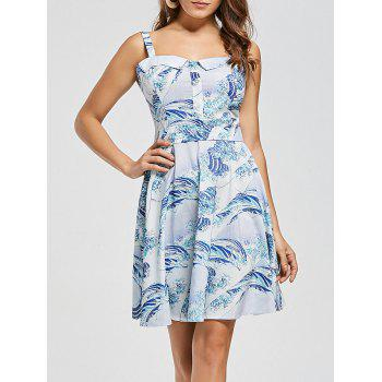 Vintage Sea Wave Print Skater Dress