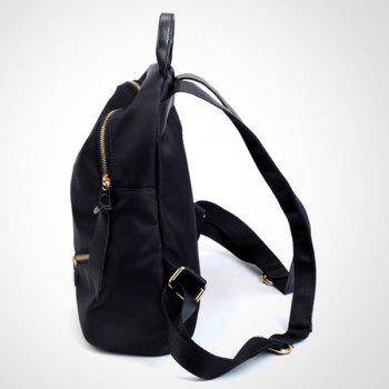 Nylon Zips Top Handle Backpack - BLACK