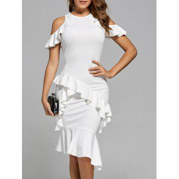 Cold Shoulder Mermaid Ruffle Dress