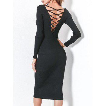 Lace Up Backless Long Sleeve Bodycon Dress