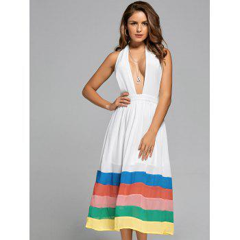 Halter Chiffon Color Block A Line Dress - Blanc L