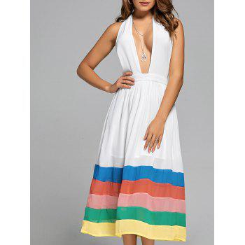 Halter Chiffon Color Block A Line Dress