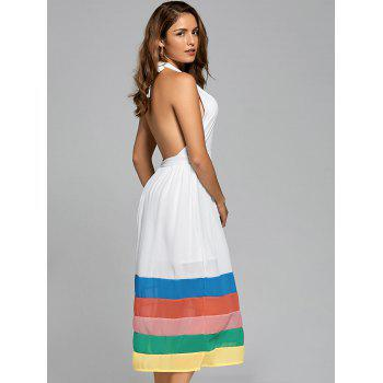 Halter Chiffon Color Block A Line Dress - Blanc XL