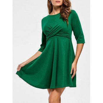 Short A Line Day Dress - GREEN XL