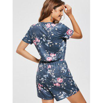 Floral Short Sleeve Surplice Drawsting Romper - DARK GRAY GREEN DARK GRAY GREEN