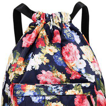 Drawstring Printed Nylon Backpack - DEEP BLUE