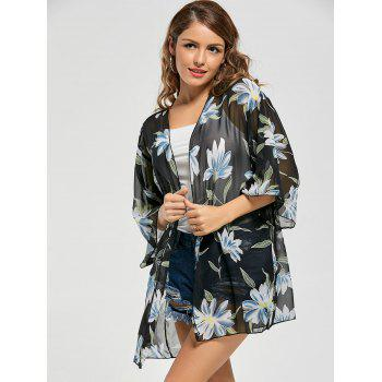 Floral Print Sheer Chiffon Kimono Cover Up - ONE SIZE ONE SIZE