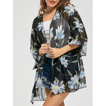 Floral Print Sheer Chiffon Kimono Cover Up - BLUE ONE SIZE