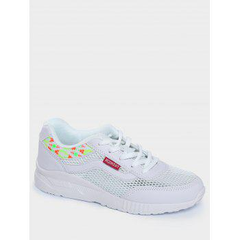Breathable Geometric Pattern Athletic Shoes - WHITE WHITE