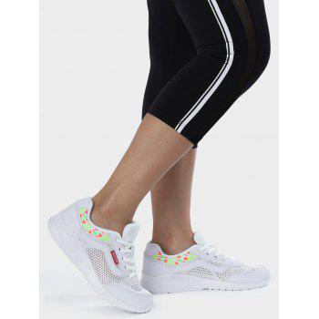 Breathable Geometric Pattern Athletic Shoes - WHITE 40