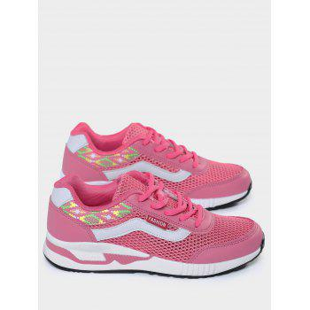 Breathable Geometric Pattern Athletic Shoes - PEACH RED PEACH RED