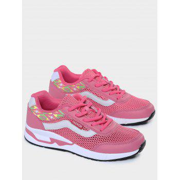 Breathable Geometric Pattern Athletic Shoes - PEACH RED 40
