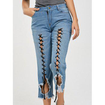 Lace Up Ripped Cropped Jeans