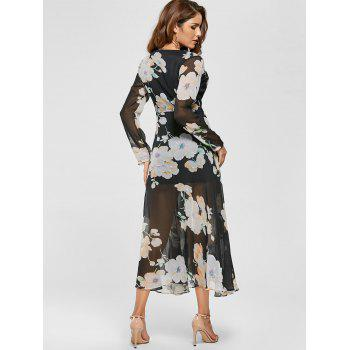 Floral Sheer Slit Long Sleeve Chiffon Flowy Dress - Noir M