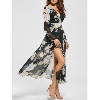 Floral Sheer Slit Long Sleeve Chiffon Flowy Dress - BLACK M