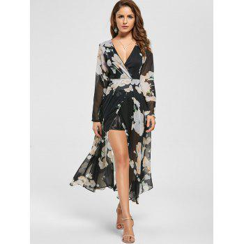 Floral Sheer Slit Long Sleeve Chiffon Flowy Dress - M M