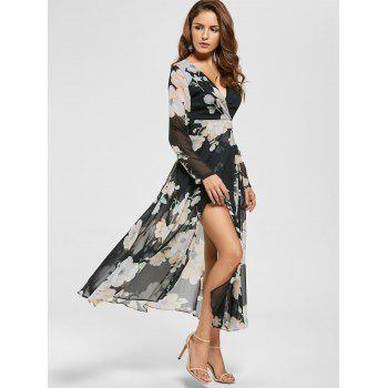 Floral Sheer Slit Long Sleeve Chiffon Flowy Dress - BLACK 2XL