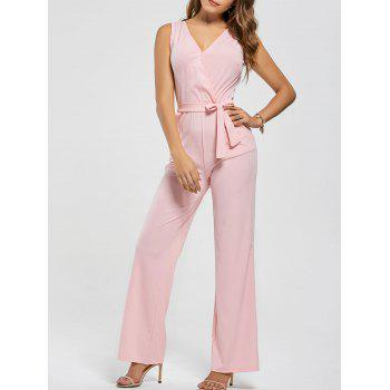 Cutout V Neck Wide Leg Jumpsuit - PINK M