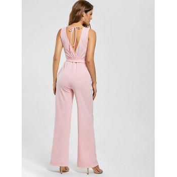 Cutout V Neck Wide Leg Jumpsuit - M M