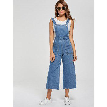 Wide Leg Ninth Denim Pinafore Pants - LIGHT BLUE LIGHT BLUE