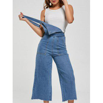 Wide Leg Ninth Denim Pinafore Pants - LIGHT BLUE XL