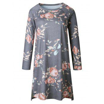 Casual Floral Long Sleeve Shift Dress