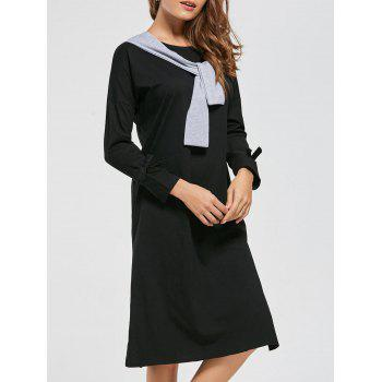 Long Sleeve Front Tie High Slit Dress
