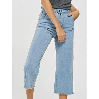 Frayed Hem Light Wash Cropped Jeans