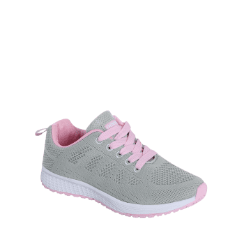 Mesh Eyelet Embroidery Athletic Shoes - PINK/GREY PINK/GREY
