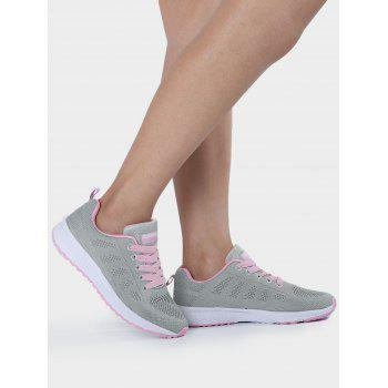 Mesh Eyelet Embroidery Athletic Shoes - PINK AND GREY 37