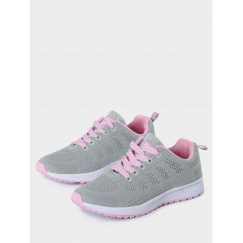 Mesh Eyelet Embroidery Athletic Shoes - 37 37