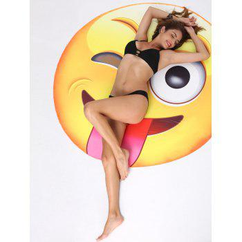 Naughty Tongue Expression Printed Round Beach Blanket Throw - YELLOW ONE SIZE