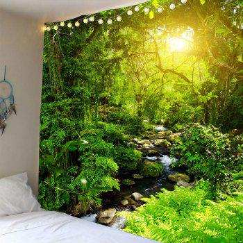 Forest Stream Sunlight Waterproof Wall Tapestry