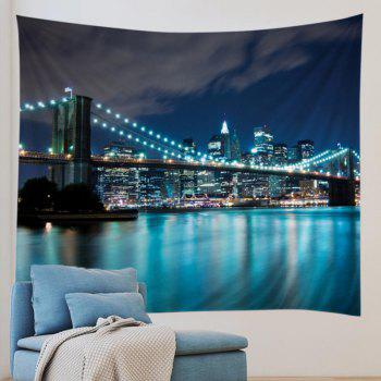 City Bridge Print Tapestry Wall Hanging Art - Bleu W91 INCH * L71 INCH