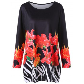 Plus Size Floral Long Sleeve Tunic Tee