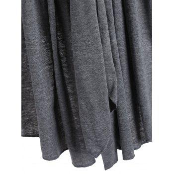 Shawl Collar Marled Wrap Cardigan - GRAY M