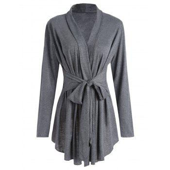 Shawl Collar Marled Wrap Cardigan