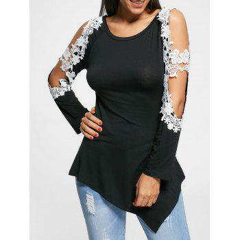 Floral Applique Cut Out Long Sleeve Top