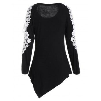 Floral Applique Cut Out Long Sleeve Top - BLACK XL