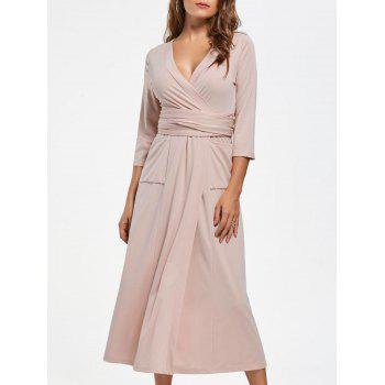 V Neck Pockets High Slit Midi Surplice Dress - NUDE M